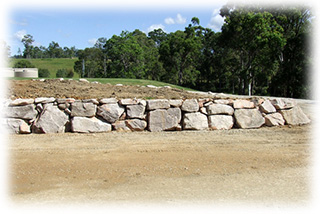 A Boulder Wall Constructed for a 200 Meter Driveway