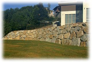 A Precision Built Granite Retaining Wall