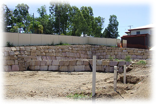 A Sandstone Boulder Wall Built for a Brisbane Council